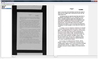 Black Border Removal, Deskew and Dynamic Thresholding applied to a page scanned from microfilm: on the left the original image, on the right the one on trial